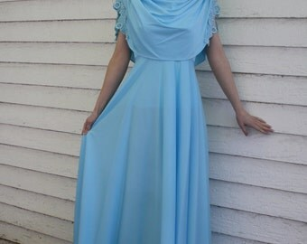 70s Blue Grecian Dress Maxi Goddess Formal Gown Vintage Light XS