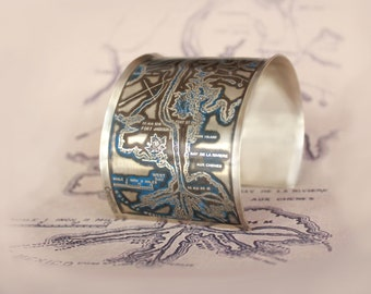 Mississippi River Sterling Silver Etched Jewelry with Blue Patina - Cuff Bracelet of New Orleans Historical Map