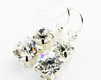 Double Stunner Swarovski Earrings, On Sterling Silver