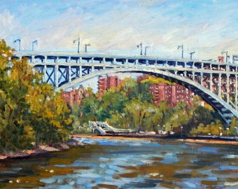 The Henry Hudson Bridge From Inwood. 12x24 Oil on Canvas, Large NYC American Impressionist Fine Art, Signed Original Oil Painting Landscape