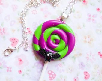Goth Lollipop Necklace, Goth Necklace, Lollipop Necklace, Gothic, Goth Lolita, Swirl Lollipop, Halloween Necklace, Bat Necklace, Halloween