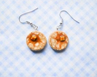 Pancake Earrings, Food Earrings, Miniature Food, Polymer Clay, Charm Earrings, Cute Earrings, Breakfast, Kawaii Earrings, Pancakes