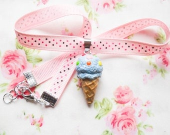 Ice Cream Choker, Choker Necklace, Choker, Miniature Food, Polymer Clay Jewelry, Kawaii Choker, Lolita, Cute Choker, Bubblegum Ice Cream