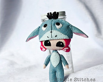 "CUSTOM 5-1/4"" Eeyore Peek-a-Boo Handmade Miniature Posable Doll - Miniature Doll - Felt Doll - Owl Doll - softie - toy - Gingermelon Doll"