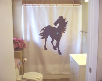 horse stallion shower curtain wild mane hoof gallop equine epona freedom bathroom decor kids bath curtains custom size long wide waterproof