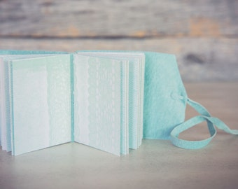 Mini suede journal with lace letterpress pattern
