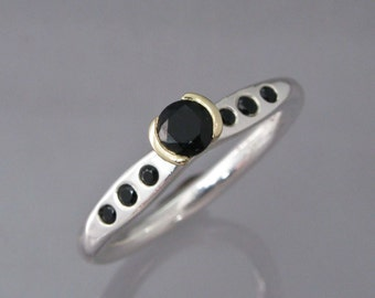 Black Spinel Alternative Engagement Ring - 14k Yellow Half Bezel and Hammered Sterling Silver with flush set black spinel