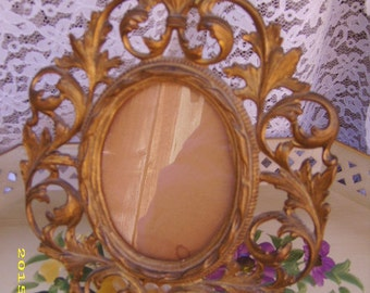Antique Gilt Ornate Metal Standing Picture Photo Frame