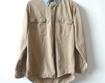 COLOR BLOCK twill 90s COTTON striped long sleeve button up shirt