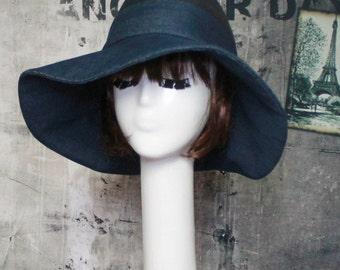 Fedora Wide Brim Hat, Denim Hat, Floppy Hat, Boho Hat, Panama Hat, Sun Hat Wide Brim, Denim Fedora Hat, Black Fedora Hat