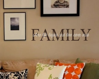 Family-Vinyl Wall Decal-FAMILY where life begins and love never ends-Wall Quotes- Lettering for the Walls- Designer Decor- Wedding Gift