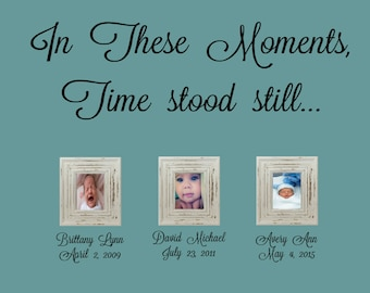 In These Moments Time Stood Still-Vinyl Wall Decal- Names Dates - Picture Collage decor- Family Wall Art-