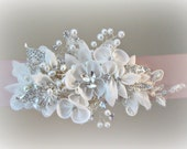 Light Blush Sash with Crystals and Pearls, Ivory and Pale Pink Wedding Belt, Rhinestone Bridal Sash, Grosgrain Sash - DELANEY
