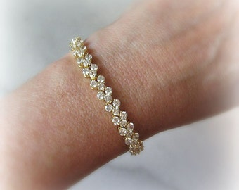 Cubic Zirconia Bracelet, Gold or Silver Crystal Tennis Bracelet, Wedding Bracelet - PIPER