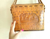 Vintage leather bag traditional Portuguese bag engraved leather strap shoulder bag Oporto