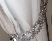 Silver grey Czech glass beads curtain holder, tie back, drapery holder, windows treatment for wall hooks