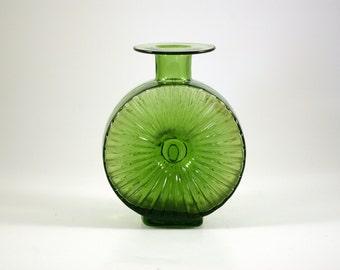 Helena Tynell for Riihimaen Lasi Aurinkopullo Green Glass Vase - Riihimaki