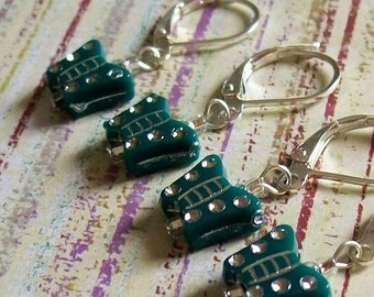 String Bling, Beaded Removable Stitch Row Markers, Knit Crochet, Yarn Charms, Set of 6, Rhinestone BUTTERFLY, Teal Aqua Blue-Green, Silver