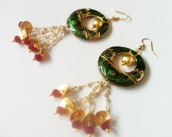 Green Egyptian Chandelier Earrings,Chandbali  Green Red Gold Earrings,Meenakari Jewellery,Bridal Freshwater pearls by Taneesi