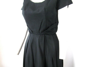 Vintage 50's Black Silk Satin Cocktail Party Dress Ruched Sides Scoop Neck Full Skirt Medium-Small Audrey Hepburn