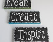 3 Wood Signs - Dream Create Inspire - Quote Wall Art Green Plum Blue White Chalkboard