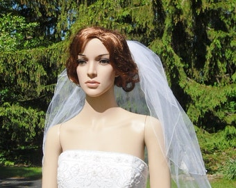 2 Tier Veil Rolled Pencil Edge Bridal Wedding Veil White Diamond Ivory