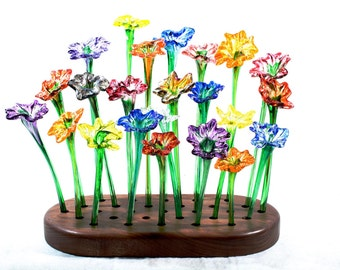Colorful handblown glass flowers