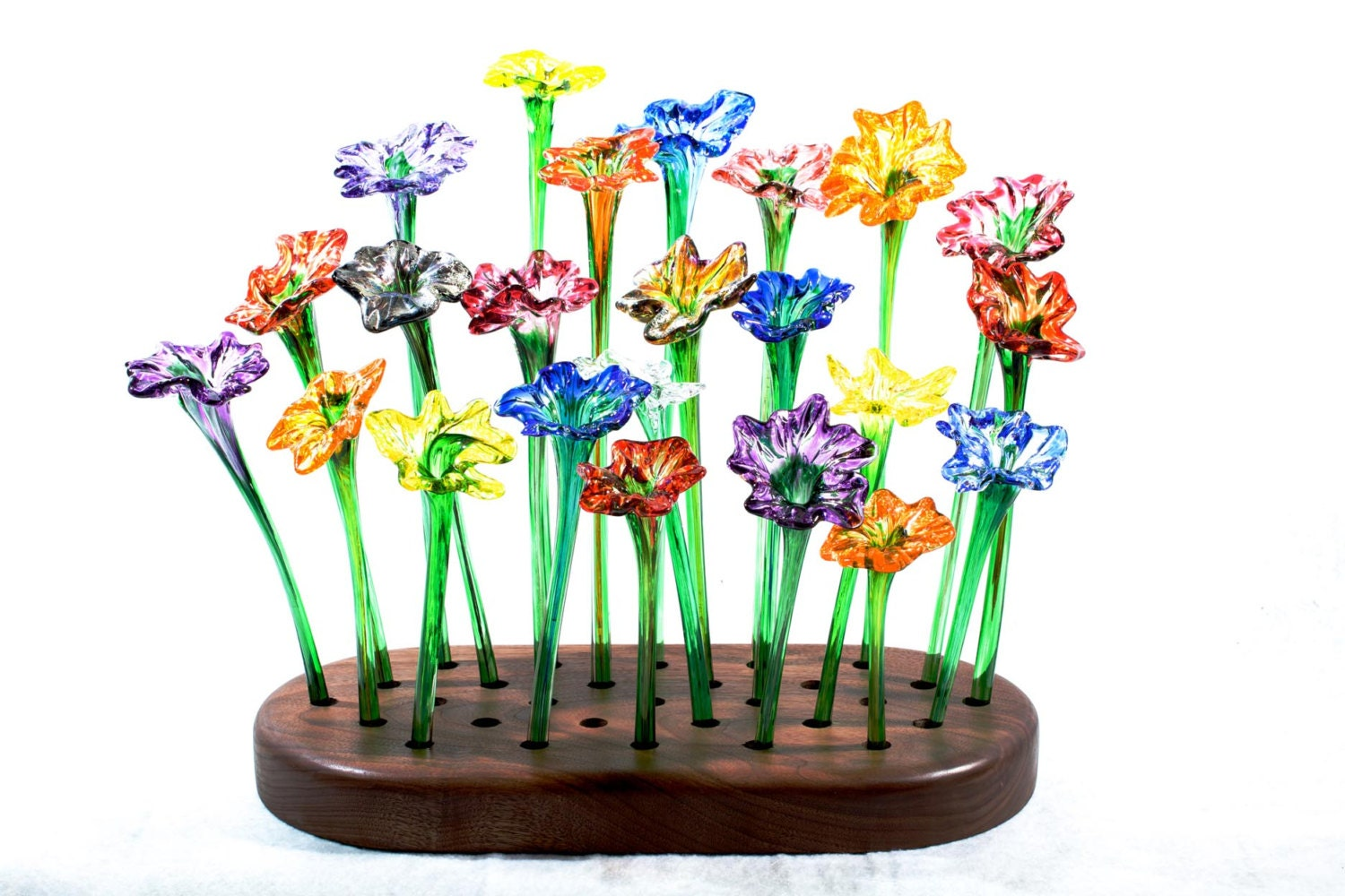 Colorful handblown glass flowers for Flowers made of glass