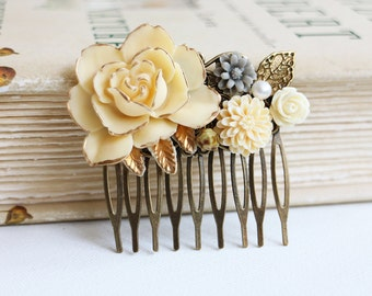 Gold Ivory Rose, Cream, Grey, Gold Leaf and Pearl Hair Comb. vintage style hair comb, bridesmaid hair comb, wedding hair accessory