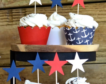 Star Cupcake Picks in patriotic red, white and blue