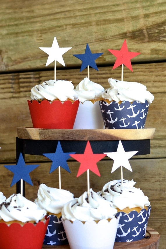 Star Cupcake Picks in patriotic red, white and blue! Choose from sets of 12 or 50 4th Of July Themed cupcake toppers
