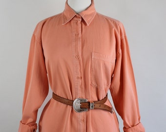 SALE - Vintage 80s Orange Melon Cotton Womens Artist Work Shirt