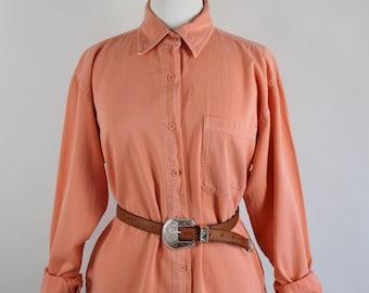 FREE SHIPPING Vintage 80s Orange Melon Cotton Womens Plus Size Artist Work Shirt, Size Large