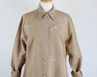 SALE - Vintage Womens Beige Sand Brown Summer Linen Embroidered Artist Work Shirt
