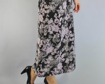 SALE - Vintage 90s Black Lilac floral Fall Maxi Skirt