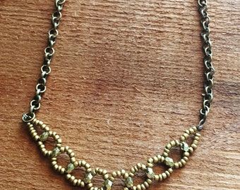 Antique Bronze Seed Bead Statement Necklace with Gold Accents