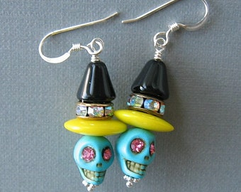 Turquoise Howlite Gemstone Skull Bead Earrings with Yellow and Black Czech Bead Accents