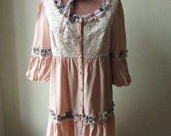 SALE Mori Girl Dress, Shabby Chic Dress, Upcycled Clothing, Tattered Ruffle Dress, Peach Dress, Mori Girl Clothing, Shabby Chic Clothing