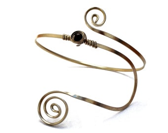 Silver Arm Band Wire Arm Cuff Spiral Armlet Upper Arm Bangle Boho Arm Bracelet Upper Arm Cuff Upper Armband Stone Armlet Arm Jewelry