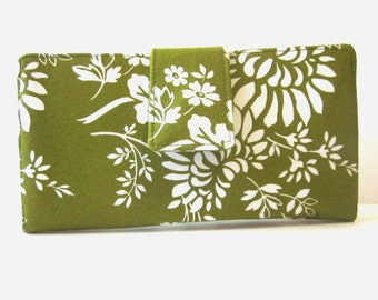 Handmade women wallet - green wallet with white floral - Custom order - Zest - Custom embroidery- Gift for her