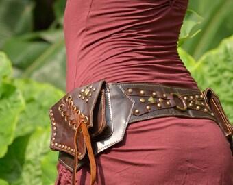 Leather Utility Belt | Fanny Pack | Handmade Pocket Belt | Hip Belt | Waist Bag | Boho | Gypsy | Goth | Burning Man | Festival Fashion |