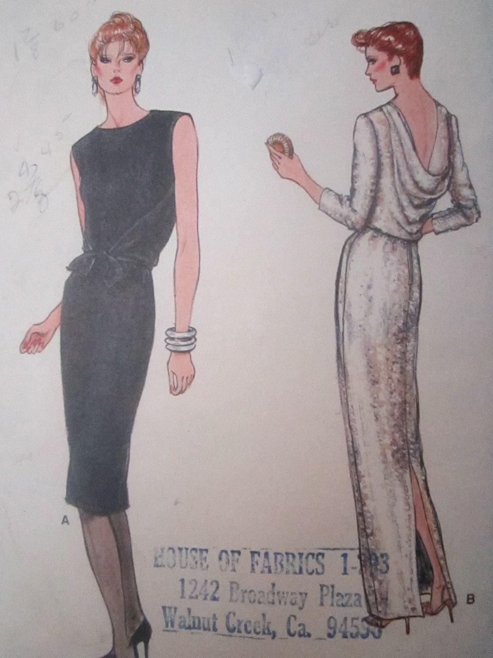 Vogue 8861 vintage 1970 39 s deep cowl back evening dress for Cowl neck wedding dress pattern