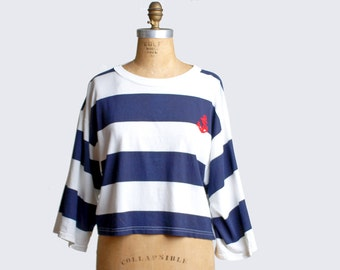 Vintage 80s Striped Diane Von Furstenberg Blouse / 1980s Oversized Blouse Nautical Beach, m