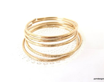 Bronze bangle set of 5, Thick open bangle bracelets, artisan crafted festival and rave jewelry