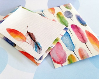 Gift Enclosure Card, Mini Cards and Envelopes, Feathers, Set of 10