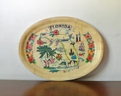 Vintage Florida Souvenir Tray - Bamboo Serving Tray - 60s Decor - Mother's Day Gift