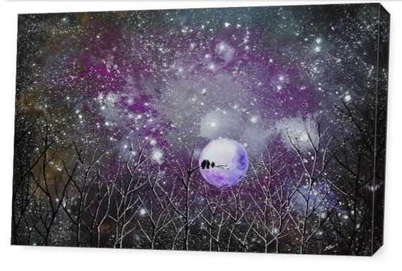 LE Deep Canvas Wrap Giclee Print of Original Painting Amethyst Enchantment Surreal Landscape A. Lamoreaux Trees Owls Moonlight Stars Purple