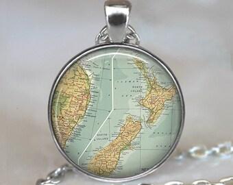 New Zealand map pendant, New Zealand map necklace New Zealand pendant, New Zealand necklace, New Zealand keychain key fob