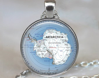 Antarctic map pendant, Antarctica map jewelry, South Pole map, Antarctic map necklace, Antarctic necklace keychain key chain key ring