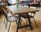 Wood table with reclaimed wood top and steel A-frame legs in choice of sizes or finishes